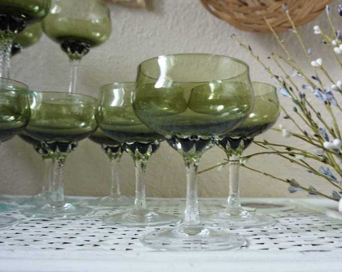 Gorgeous Green and Clear Glass Cocktail Glasses - Set of 12 - Instant Collection