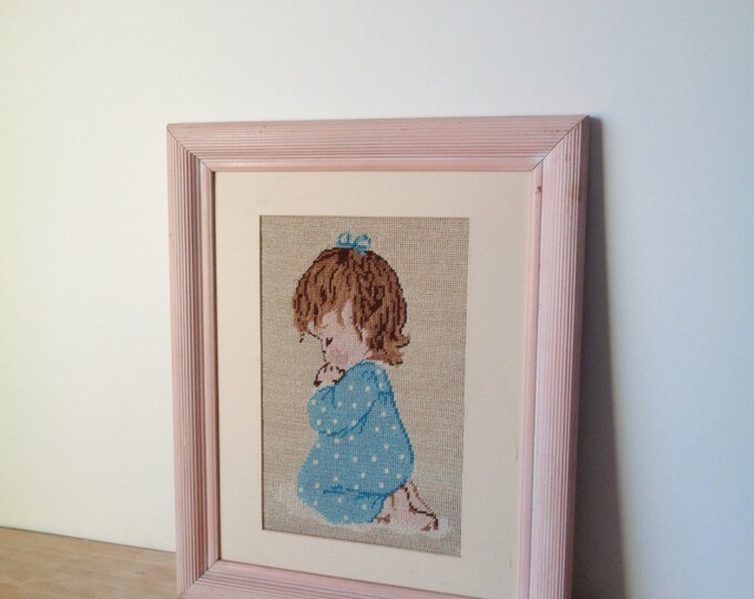 Large Vintage Cross Stitch Embroidery Framed Art of Praying Kneeling Baby