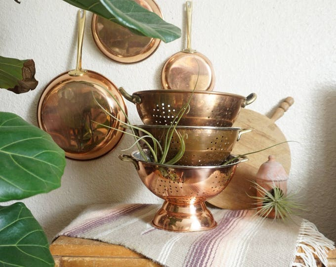 Vintage Copper Colander Strainer with Brass Handles - Multiple Selections