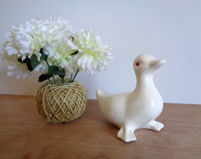 CLEARANCE Vintage White Porcelain Duck Goose Swan Bird Figurine
