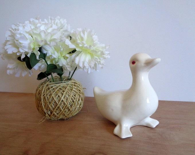 CLEARANCE Vintage White Porcelain Duck Goose Swan Bird Figurine