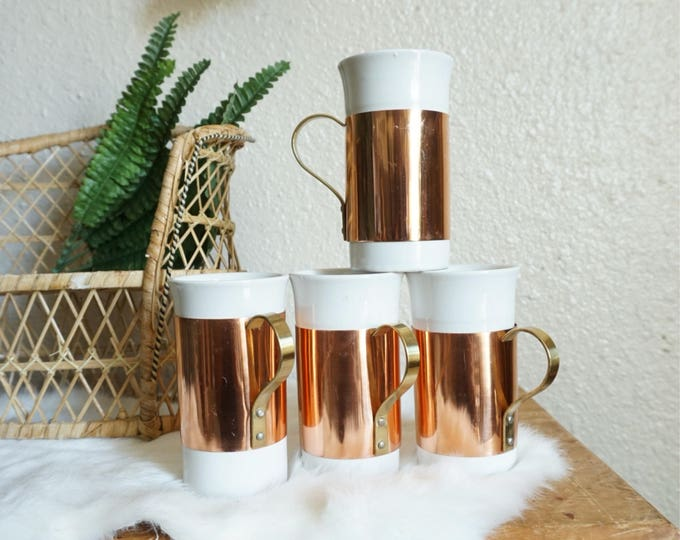 Set of 4 Copper and White Porcelain Coffee Mugs