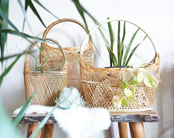 Woven Wicker Rattan Basket with Large Handle - Various Size