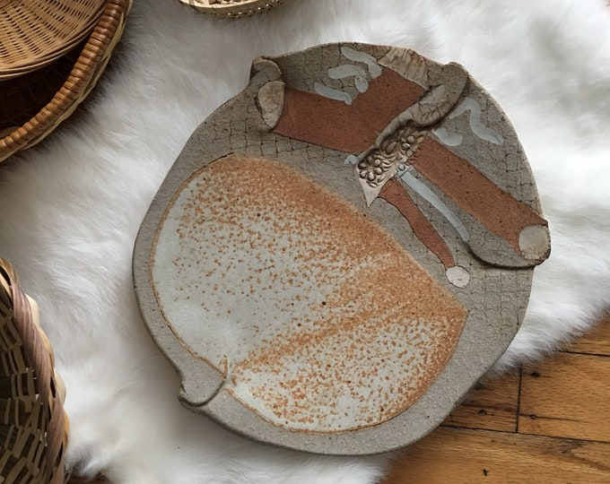 Unique Handmade Abstract Ceramic Plate / Dish / Catch-all Tray