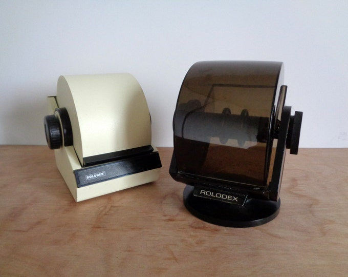 Retro Black and Faux Wood Grain Rolodex with Swivel Base