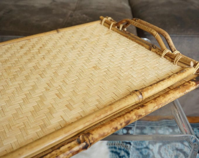 Vintage Wicker Rattan Bamboo Wood Tray with Tortoise Shell Finish Handles