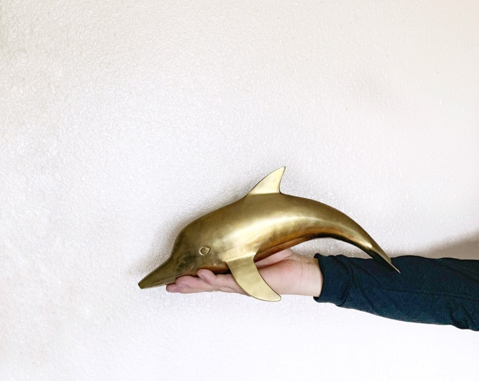Large Vintage Solid Brass Dolphin Marine Mammal Statue / Figurine