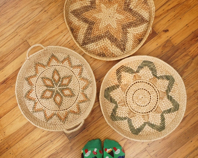 Large Round Woven Seagrass Basket / Platter / Tray - Various Styles