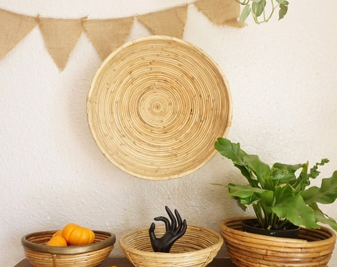 Round Bamboo Rattan Coiled Basket - Vintage Natural Minimalist Bohemian Rye Coil Woven Decor