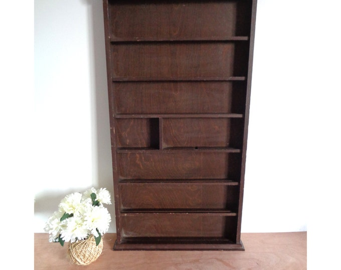 Large Tall Wood Shadow Box Wall Hanging Shelf / Display Case