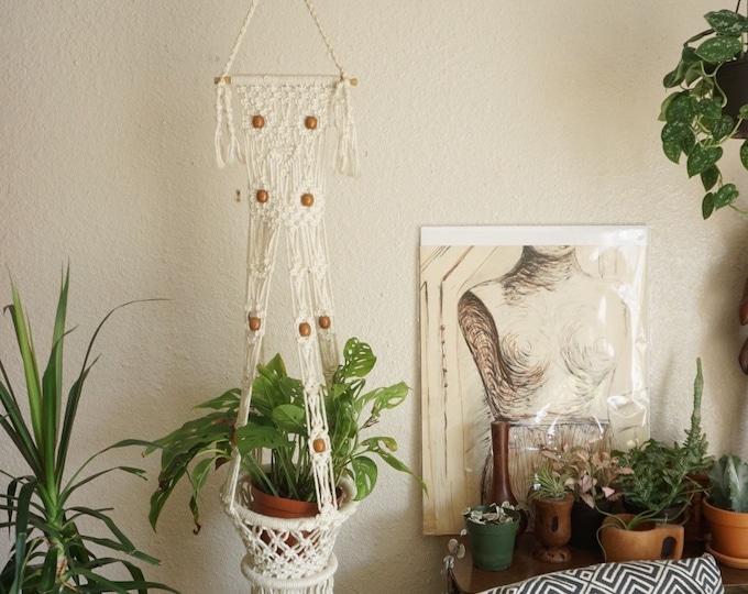 Vintage White Beaded Hanging Macramé Plant Hanger / Chandelier