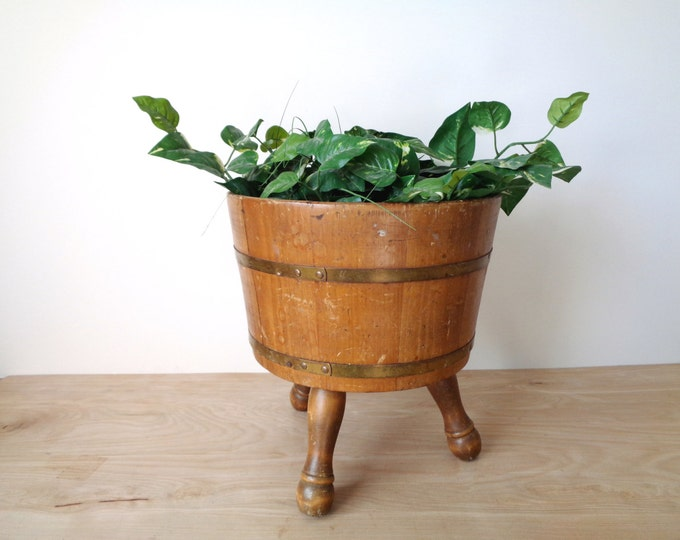 Vintage Wooden Planter Firkin Bucket with Brass Bands and Legs - Vintage Primitive Farmhouse Rustic Pot / Planter / Pail / Vase