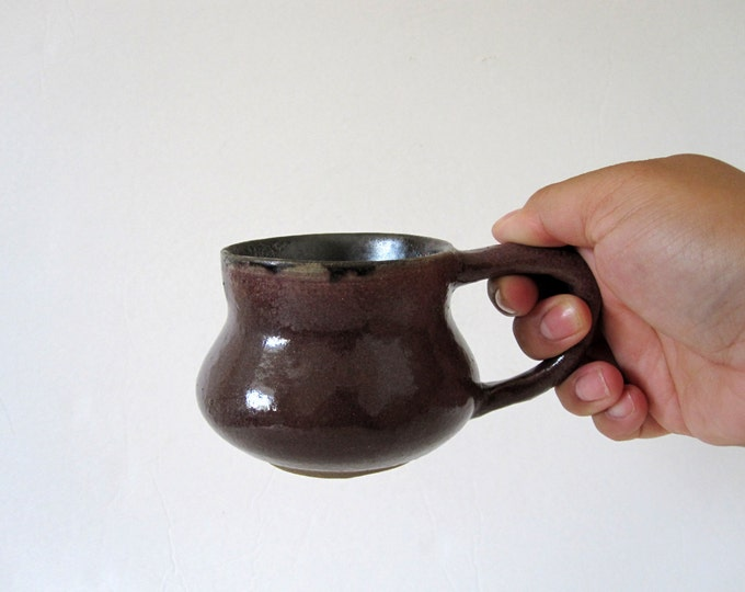 Vintage Brown Ceramic Mug Coffee Cup with Metallic Glaze
