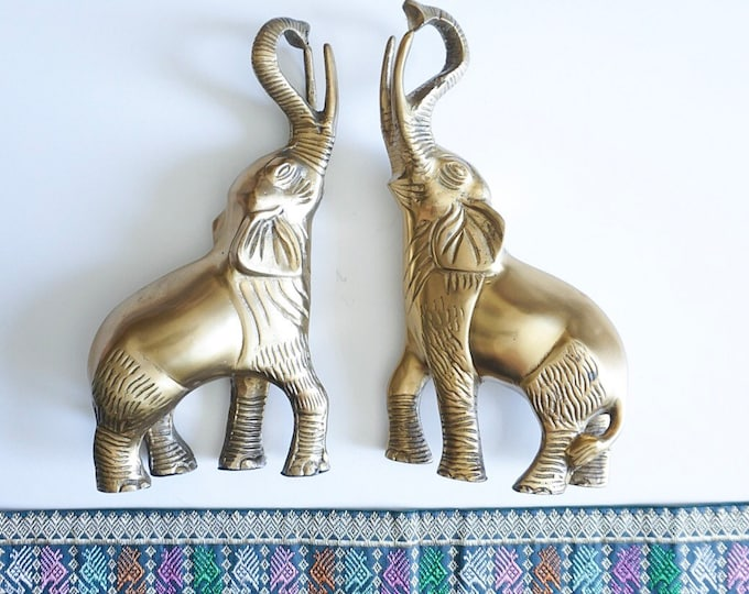 Vintage Solid Brass Standing Elephant Trunk Up Statue / Bookends
