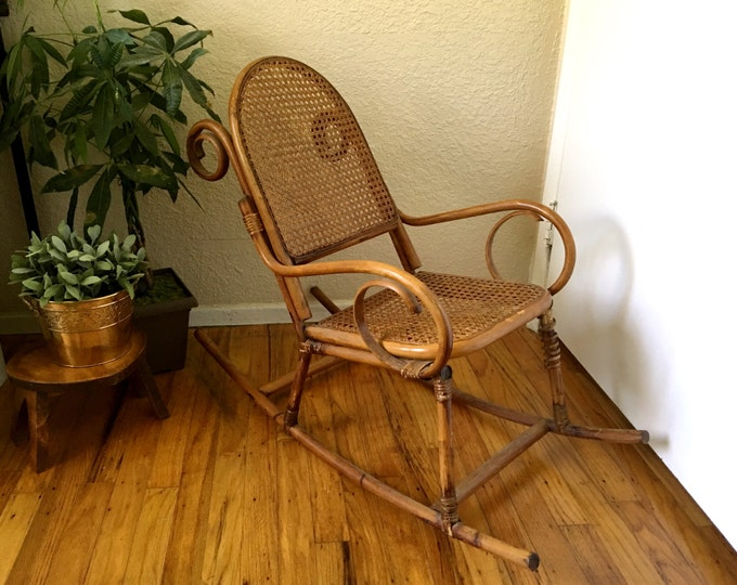 Vintage Bentwood Wicker Cane Children's Rocking Chair
