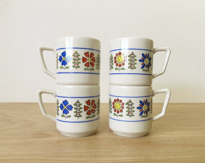 Vintage Italian Tognana Hand Painted Porcelain Mini Coffee / Tea / Shot Cups - Set of Four