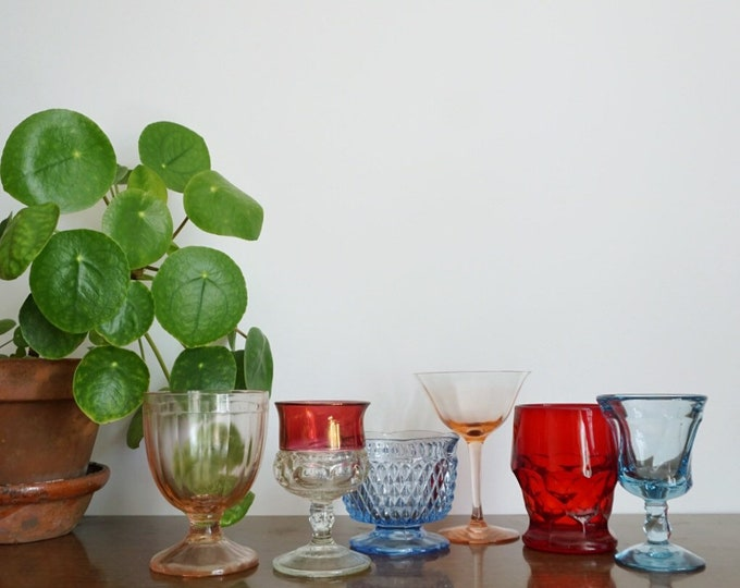 Vintage Mixed Colored Goblet Glass Cups - Set of 6 - Instant Collection