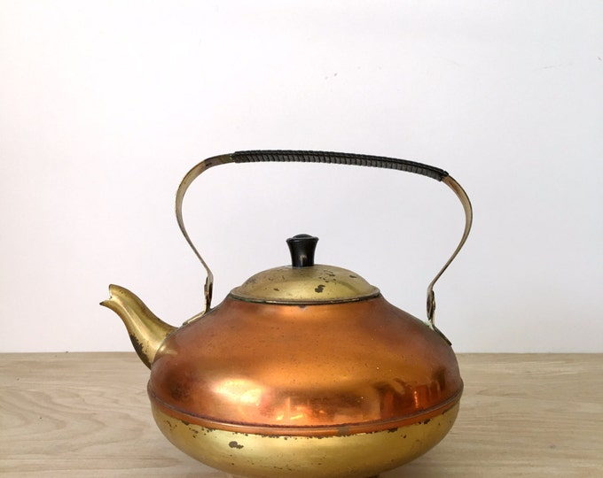 Mid Century Copper and Brass Teapot with Lid and Handle