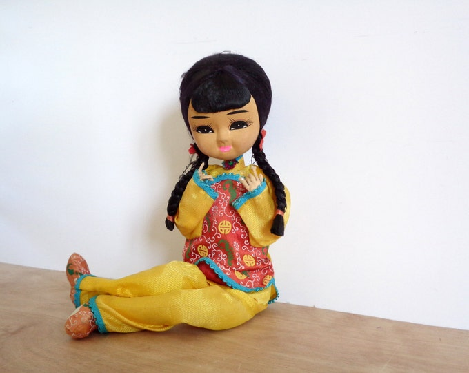 Vintage Oriental Doll Sitting Lady Girl - Traditional Yellow Red Brocade Chinese Outfit
