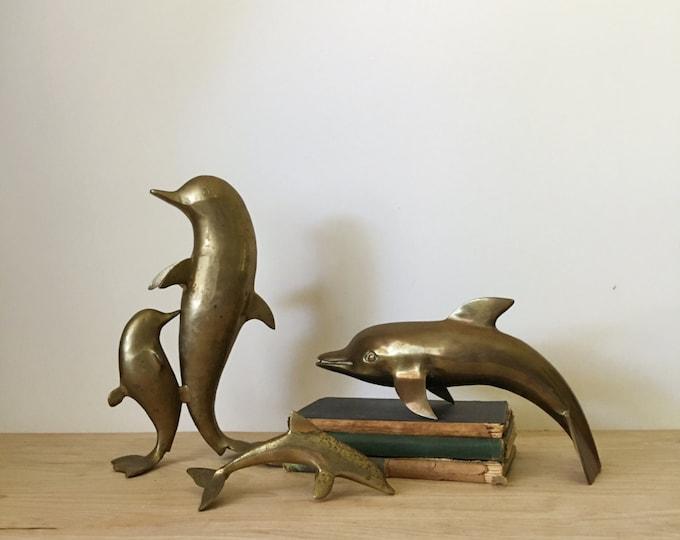 Vintage Solid Brass Dolphin Marine Mammal Statue / Figurine