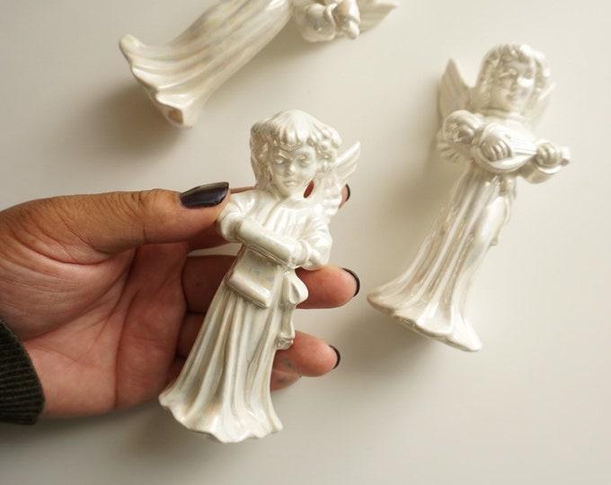 Vintage Caroling Angel Cherubs Iridescent Porcelain Figurines - Set of 3