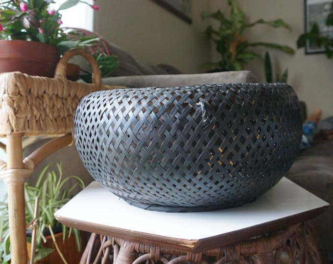 Large Black Wicker Rattan Orb Basket
