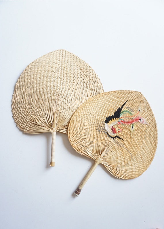 Woven Straw Raffia Fan - Embroidered Bird and Plain Option