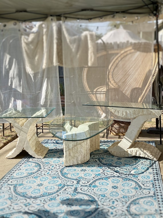 Post Modern Tessellated Stone and Glass X Y Z Tables - Multiple Selection