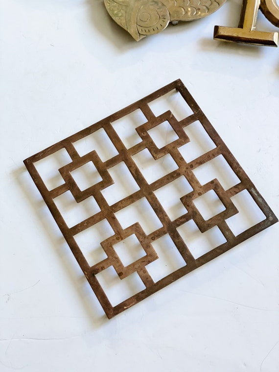 Vintage Squared Art Deco Chinoiserie Brass Metal Trivet / Tray / Holder