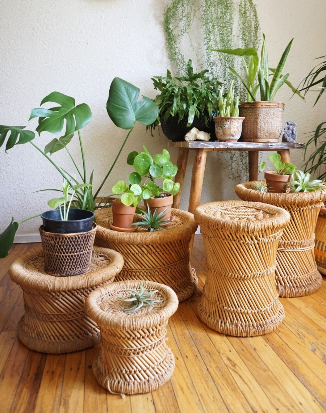Vintage Woven Jute And Bamboo Rattan Plant Stand Stool