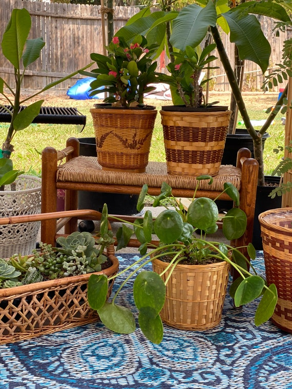 Woven Wicker and Split Rattan Baskets - Mixed Set of 3 - Instant Collection