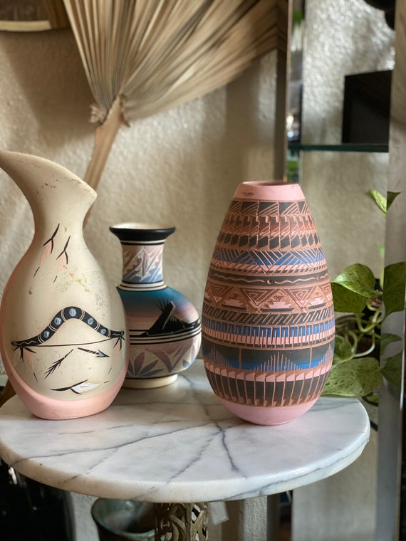 Pink Multicolored Native American Studio Ceramic Pottery Vessel / Vase / Jug