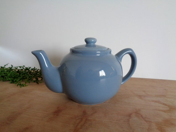 Vintage Blue Gray Porcelain Teapot with Lid