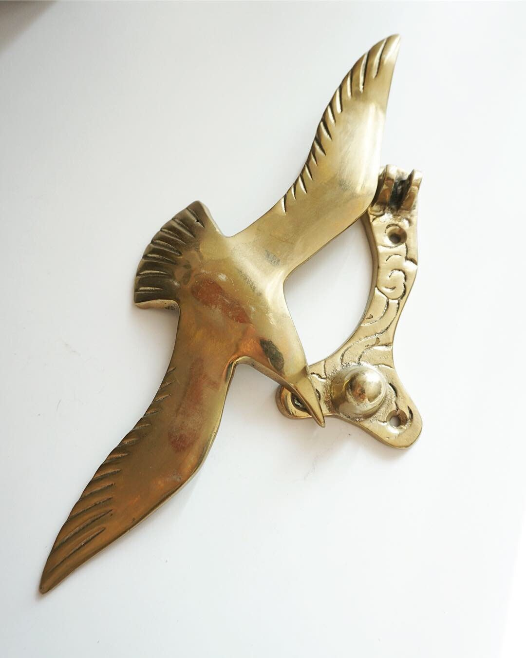 Vintage Solid Brass Bird Door Knocker. 1