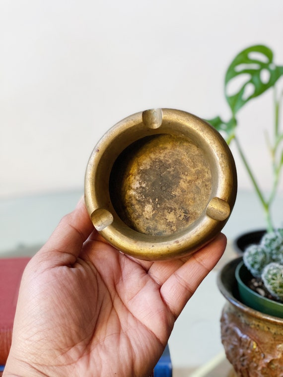 Vintage Round Solid Brass Gold Ashtray