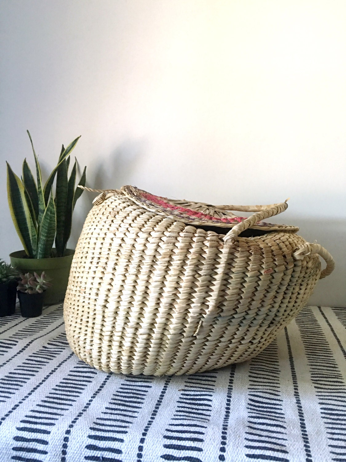 Extra Large Vintage Woven Straw Snake Charmer Basket with