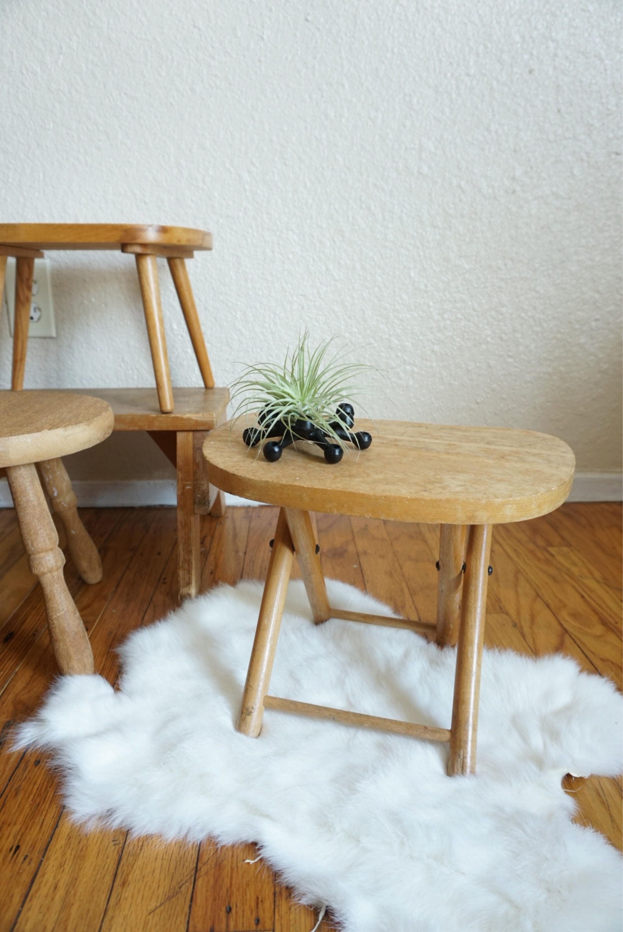 Vintage Wooden Nevco Fold N Carry Stool Stand Table