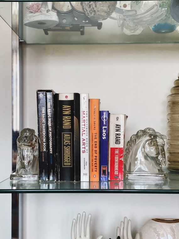 Vintage Clear Glass Horse Bookend Pair
