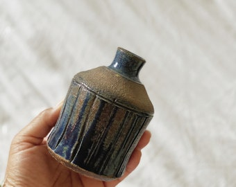 Small Two Tone Midnight Blue Ceramic Bud Vase / Planter Pot / Vessel / Jar