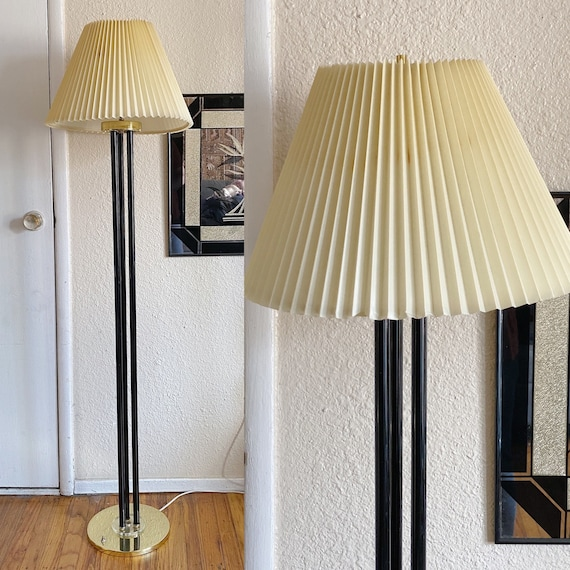 Mid Century Modern Tall Brass and Black Lacquer Floor Lamp with Lucite Accents and Pleated Shade