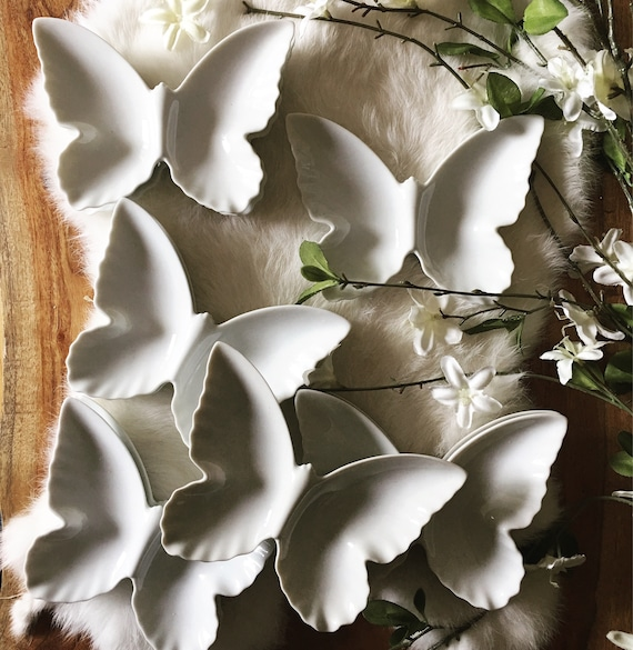 White Porcelain Butterfly Dishes - Set of 4