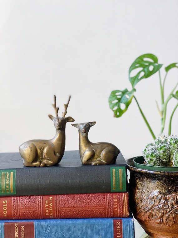 Small Solid Brass Deer Buck and Doe Figurines - Set of 2