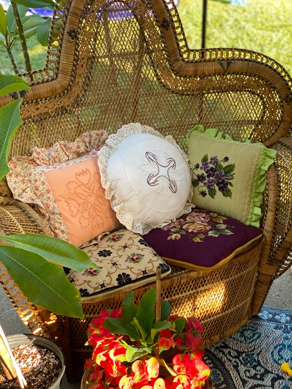 Vintage Embroidered Floral Throw Pillow - Different Selections