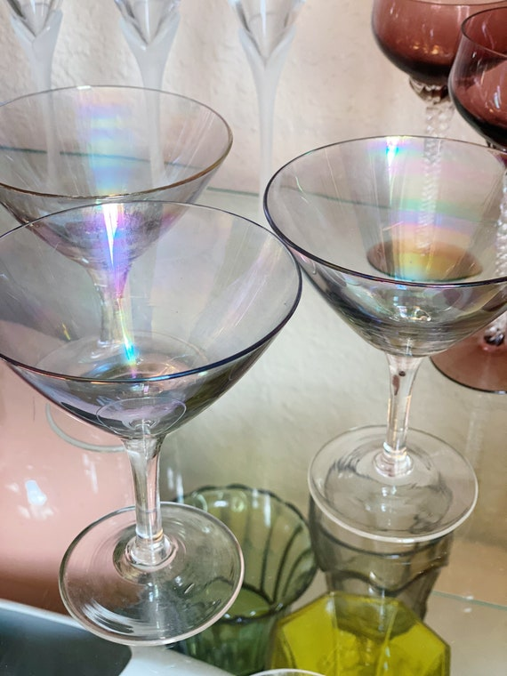 Iridescent Opalescent Glass Cocktail Martini Cups - Set of 3