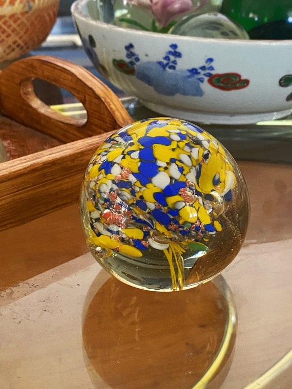 Murano Style Glass Yellow Blue Bubble Suspension Round Orb / Paperweight / Blown Glass Sculpture