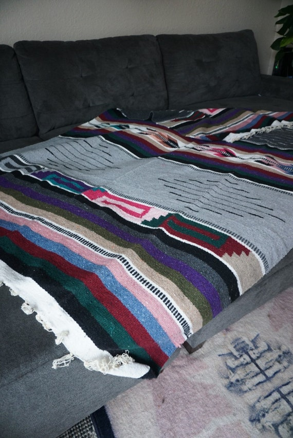 Large Colorful Wool Blanket / Tapestry / Throw