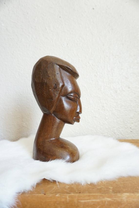 Vintage Wooden Face Portrait Statue