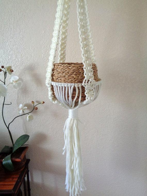 "Large 60"" Vintage White Hanging Macramé Planter Pot Holder / Air Plant"