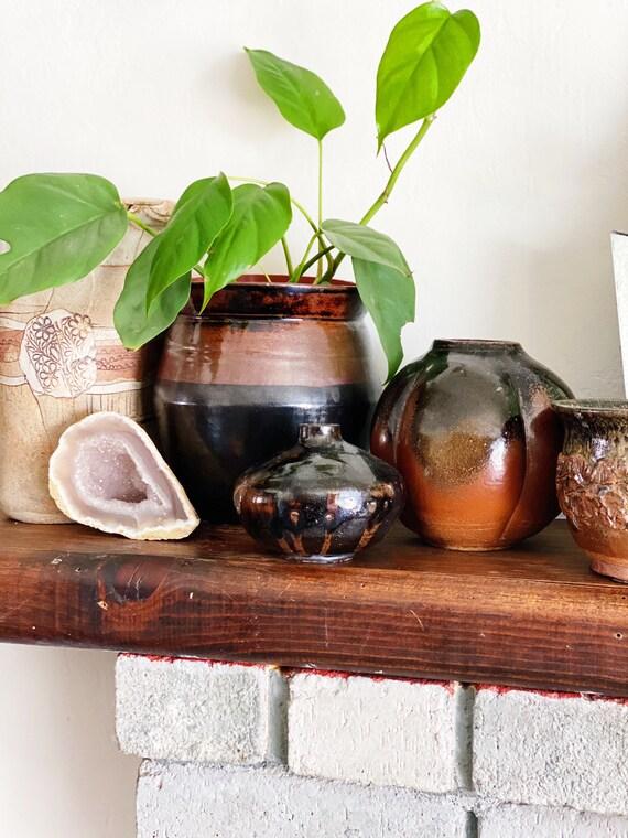 Gorgeous 1987 Black & Rust Brown Glazed Ceramic Bud Vase / Planter Pot / Vessel
