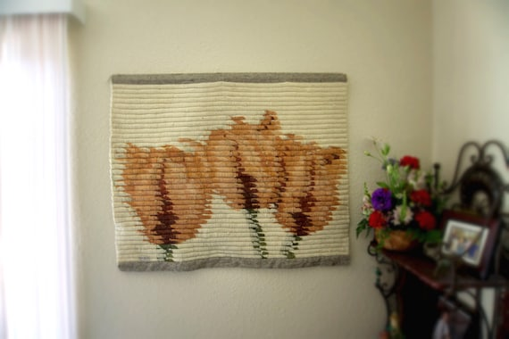 Extra Large Vintage 1960s Woven Tapestry Scroll Textile with Muted Pink Roses by Van Klee